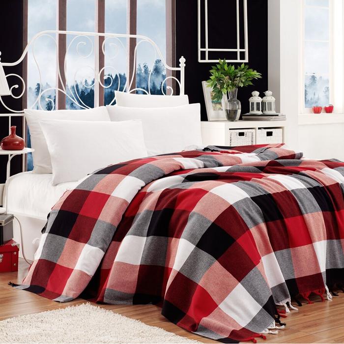 Eponj Home İskoç Çift Kişilik Pike - Kırmızı/Beyaz