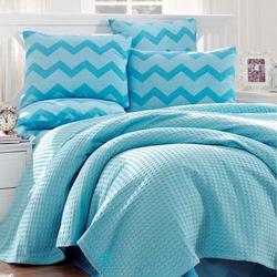Eponj Home Paint Zigzag Çift Kişilik Pike Takımı - Mavi
