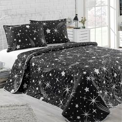 Eponj Home B&W Halley Tek Kişilik Yatak Örtüsü Seti - Siyah