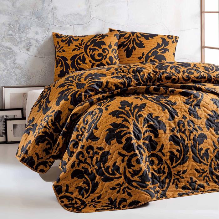 Resim  Eponj Home Carla Tek Kişilik Yatak Örtüsü Seti - Siyah/Hardal