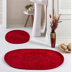 Eponj Home Osmanlı Oval Pamuklu Banyo Paspas Seti - Kırmızı