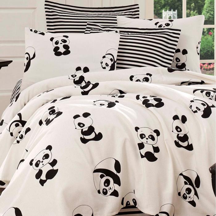 Baskılı Pike Takımı Tek Kişilik Panda