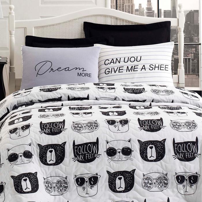 Eponj Home B&W Melone Kapitone Tek Kişilik Yatak Örtüsü Seti - Siyah/Beyaz