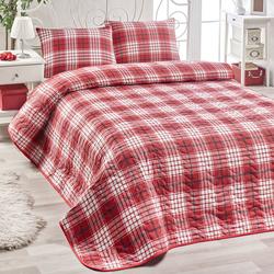 Eponj Home Burberry Kapitone Çift Kişilik Yatak Örtüsü Seti - Kırmızı