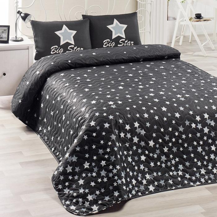 Resim  Eponj Home WhiteStar Kapitone Tek Kişilik Yatak Örtüsü Seti - Siyah