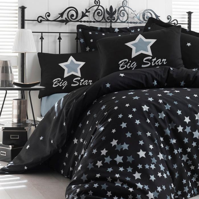 Eponj Home White Star Çift Kişilik Nevresim - Siyah
