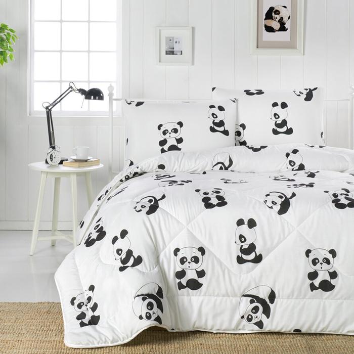 Eponj Home Life B&W Panda Tek Kişilik Yorgan - Beyaz