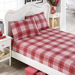 Eponj Home Burberry Lastikli Çift Kişilik Çarşaf Seti - Kırmızı