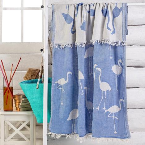 Resim  Eponj Home Flamingo Jakarlı Çift Katlı Peştemal - Mavi