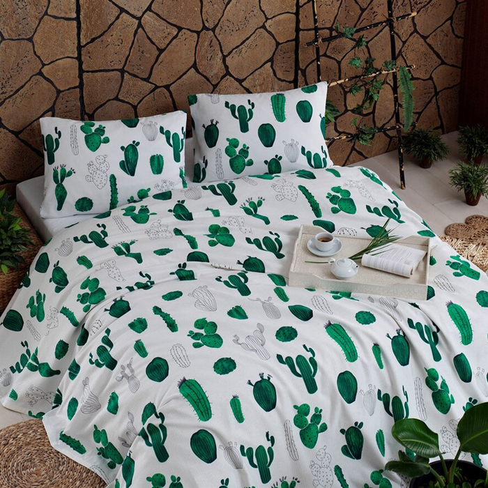 Eponj Home Kaktüs Çift Kişilik Pike Takımı - Yeşil