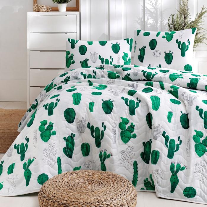 Eponj Home Kaktüs Çift Kişilik Yatak Örtüsü Seti - Yeşil