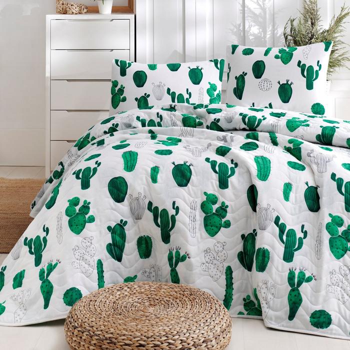 Eponj Home Kaktüs Tek Kişilik Yatak Örtüsü Seti - Yeşil