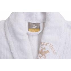 Beverly Hills Polo Club Polo Çizgili Şalyaka Pamuk Bornoz M/L Beyaz-Bej