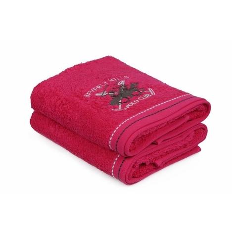Resim  Beverly Hills Polo Club Polo Havlu Seti 50x90cm (2) Hand&Towel 2Çizgili Fuşya