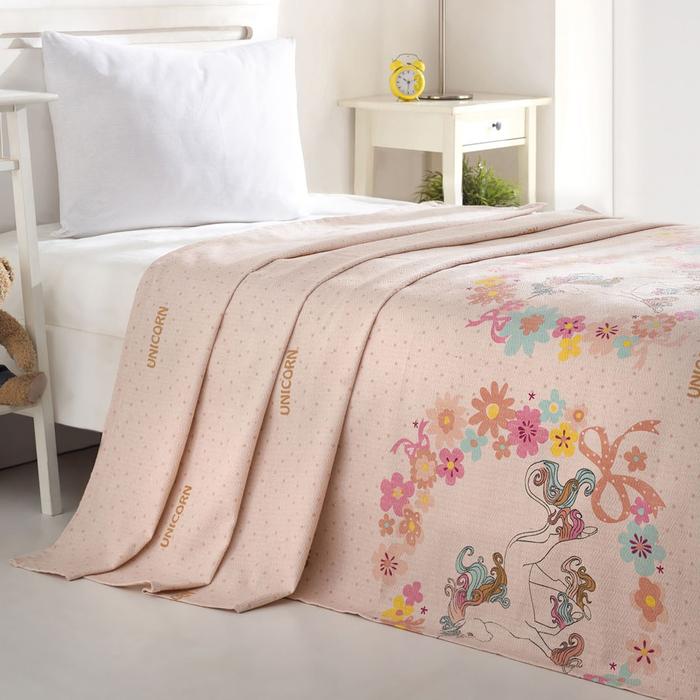 Eponj Home Unicornlar Tek Kişilik Pike 160x235 cm - Pembe