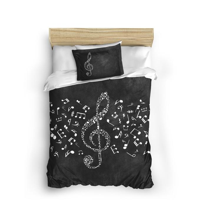 Charlot Home Musicol 3D Tek Kişilik Nevresim Seti - Siyah