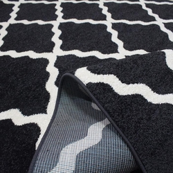 Saray 011 Lena Dalga Modern Halı (Siyah/Beyaz) - 200x300 cm
