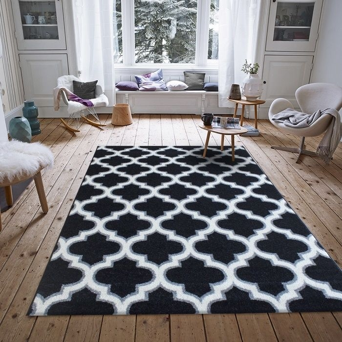 Resim  Saray Halı Tuana 031 200x300 cm Karo Desen Siyah / Gri Modern Halı