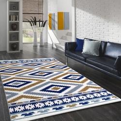 Saray Halı Tuana 034 120x170 cm Etnik Kilim Desenli Gold / Lacivert Modern Halı
