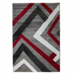 Payidar Modern Çizgili Gri İpek Shaggy Halı B291 120x180 cm
