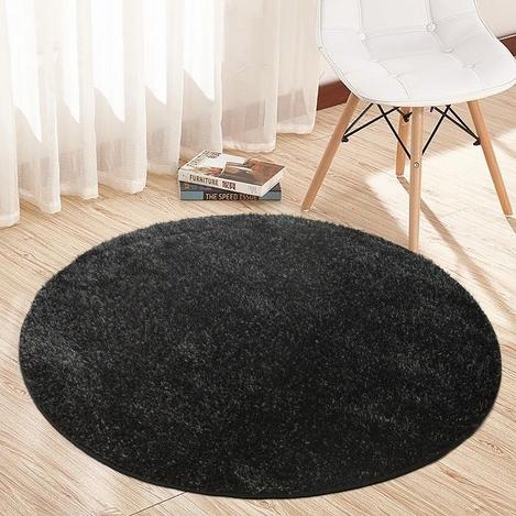 Payidar Siyah İpek Shaggy Halı 9000NM 120x120 cm
