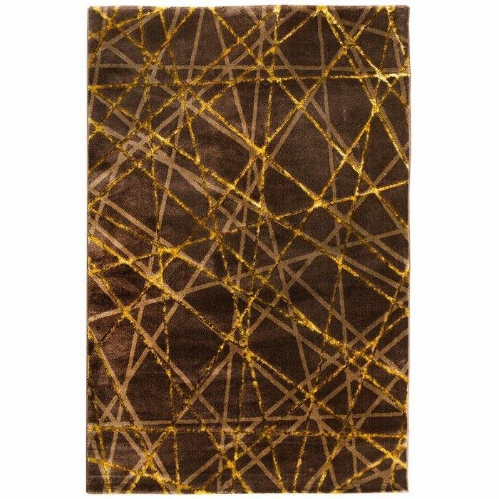 Payidar Gold G3167M Modern Halı (Işın Desen - Kahverengi / Gold) - 80x150 cm