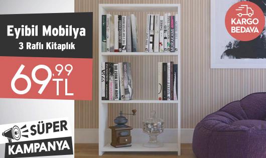 Eyibil Mobilya Mini Modern 3 Raflı XL Kitaplık 69,99 TL