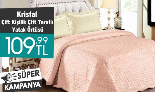 Kristal Çift Kişilik Çift Taraflı Yatak Örtüsü Tek Fiyat 109,99 TL