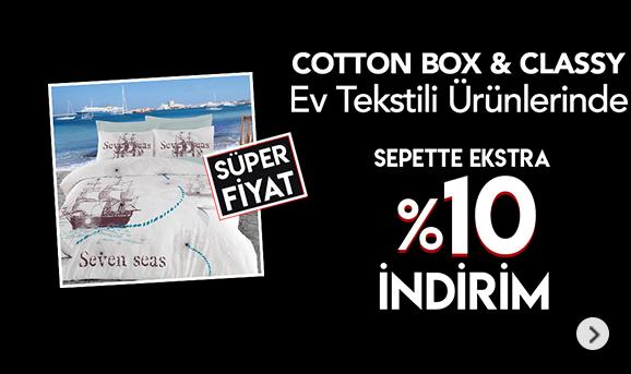 Cotton Box ve Clasy Markalı Tekstil Ürünlerinde Sepette %10 İndirim