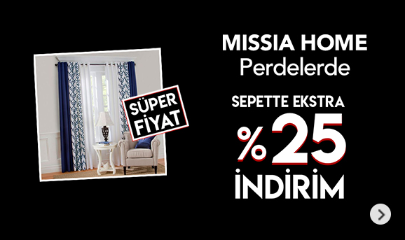 Missia Home Perdelerde Sepette %25 İndirim