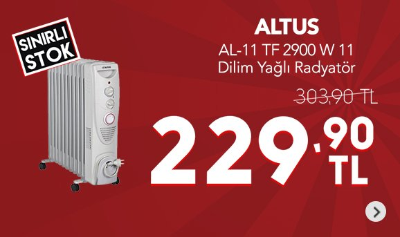 Altus AL-11 TF 2900 W 11 Dilim Yağlı Radyatör 229,90 TL