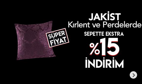 Jakist Kırlent ve Perdelerde Sepette %15 İndirim