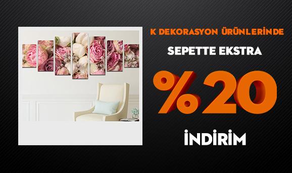 K Dekorasyon Ürünlerinde Sepette Ekstra %20 İndirim