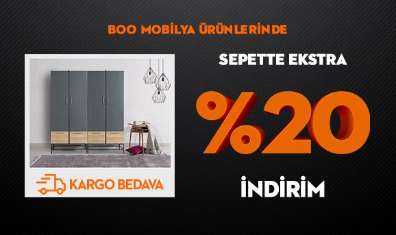 Boo Mobilya Ürünlerinde Sepette Ekstra %20 İndirim + Kargo Bedava