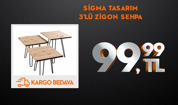 Sigma Tasarım Wood Storm 3'lü Zigon Sehpa 99,99 TL