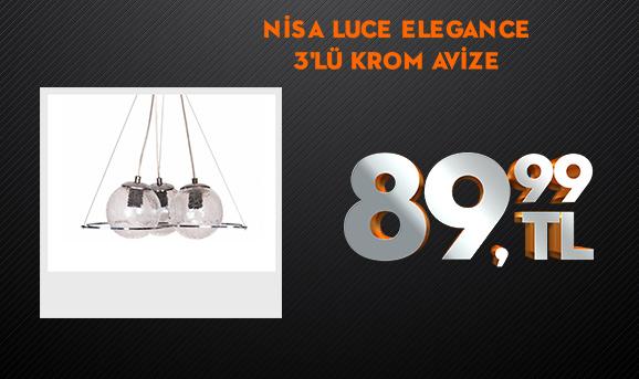 Nisa Luce Elegance 3'lü Çatlatma Krom Avize 89,99 TL